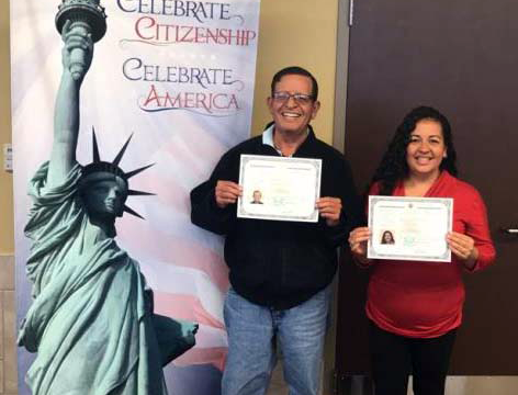 CPS employee Tania de leon celebrates her American citizenship